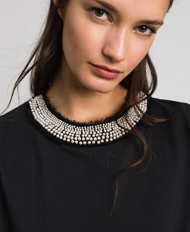 T-shirt avec col bijou parsemé de perles Noir Femme 192TT2562-04