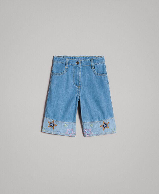 Breitbeinige Jeans mit Sternstickerei Soft Denim Kind 191GB2320-01