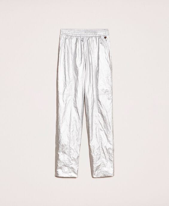 Laminated elasticated trousers