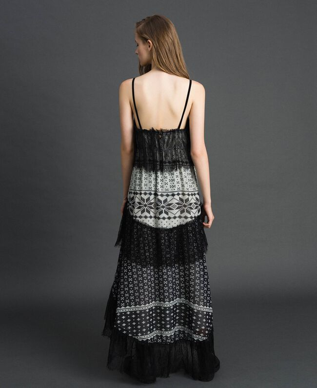 "Printed georgette long dress with lace Black and Vanilla ""Air De Neige"" Mix Print Woman 192MT2393-03"