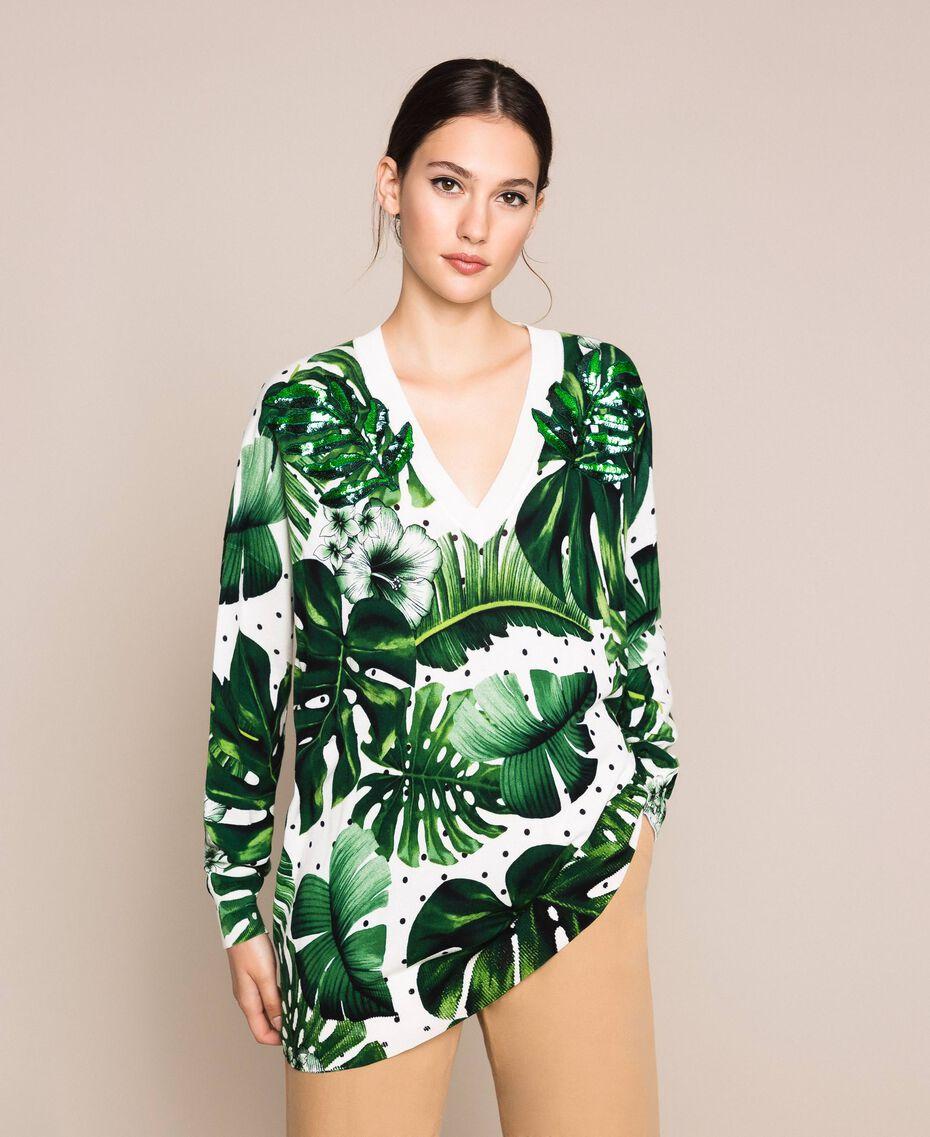 Длинная трикотажная кофта с принтом и отделкой пайетками Принт Тропический Горошек Зеленый женщина 201TP3263-02