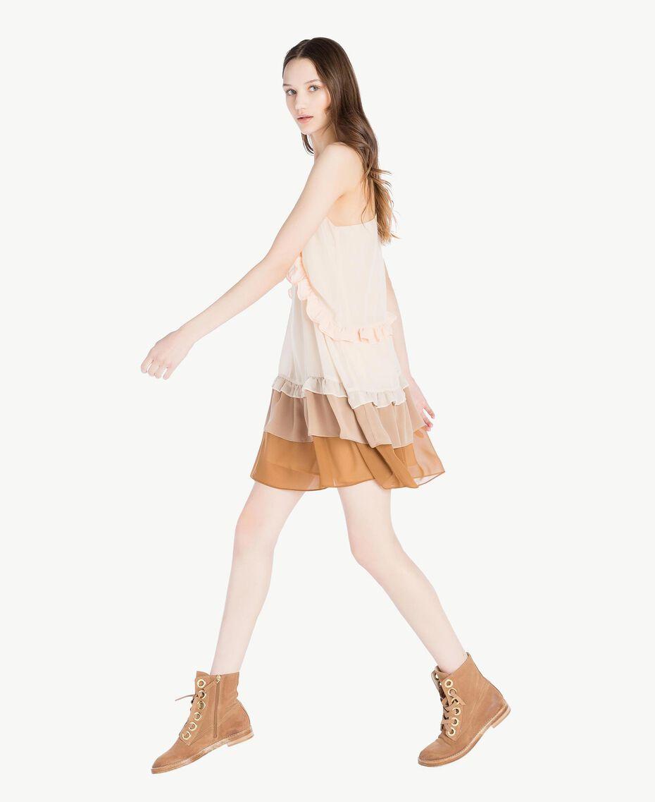 Kleid mit Volants Multicolor Seilbeige Frau SS82DC-02