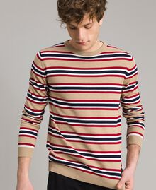 "Crêpe cotton striped jumper Multicolour Porcelain Beige / ""Dark Raspberry"" Red Man 191UT3033-01"