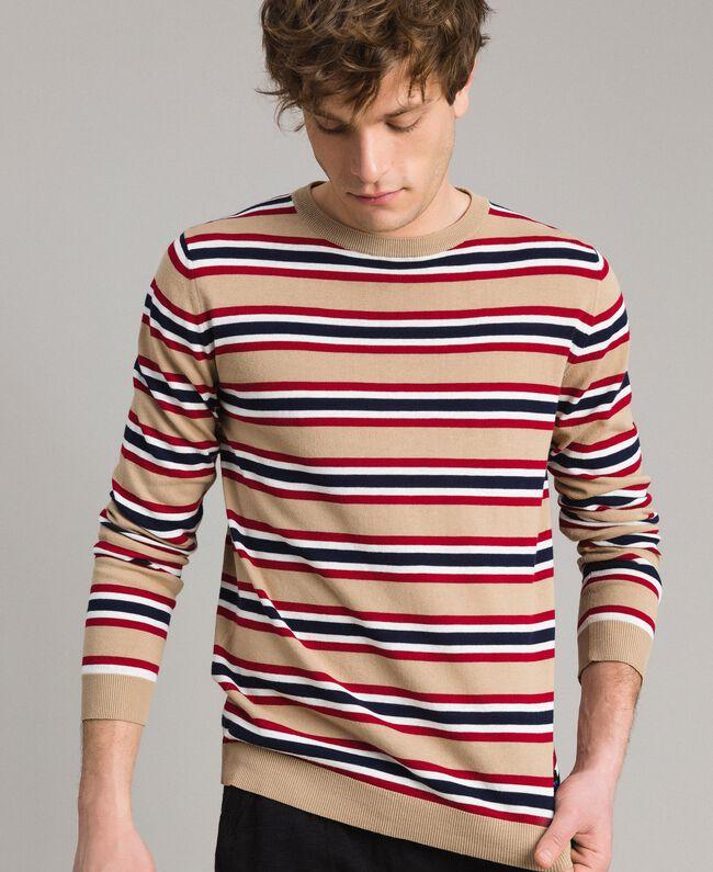 "Crêpe cotton striped jumper Multicolour Porcelain Beige / ""Dark Raspberry"" Red Man 191UT3033-01"