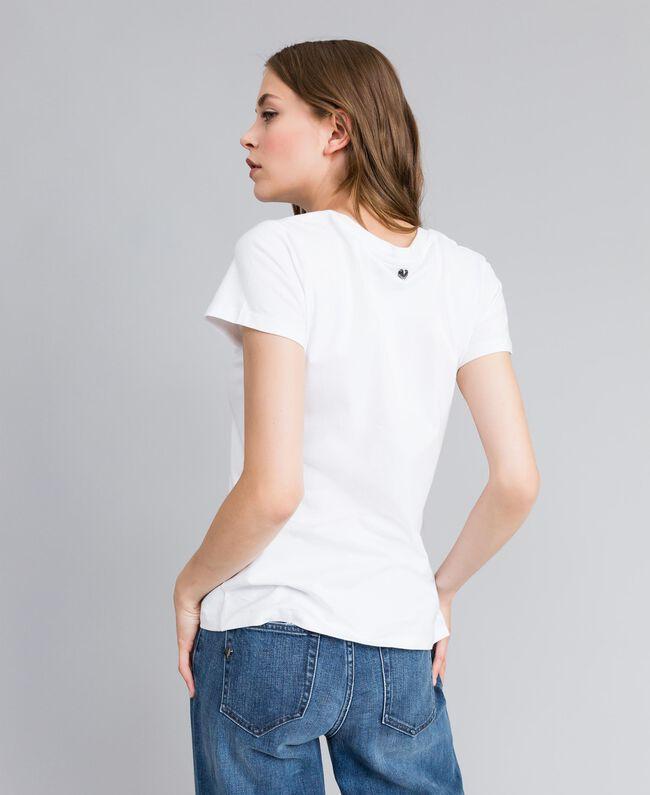 """T-Shirt aus Jersey mit Herz aus Strass """"Ice""""-Weiß Frau JA82MQ-04"""