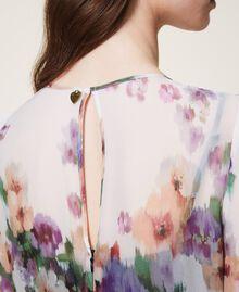 Платье из жоржета с цветочным принтом Принт Деграде Цветы Черный / Слоновая кость женщина 202TT2381-04