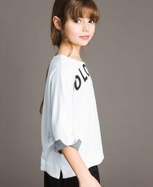 Sweat shirt au point de Milan avec détails en vichy Bicolore Blanc Optique / Vichy Enfant 191GJ2732-02