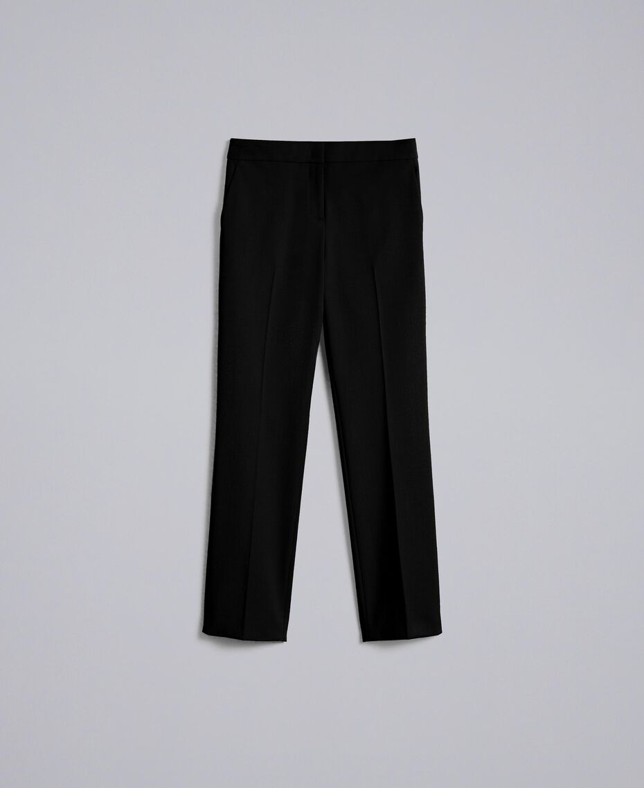 Cool wool drainpipe trousers Black Woman PA823P-0S