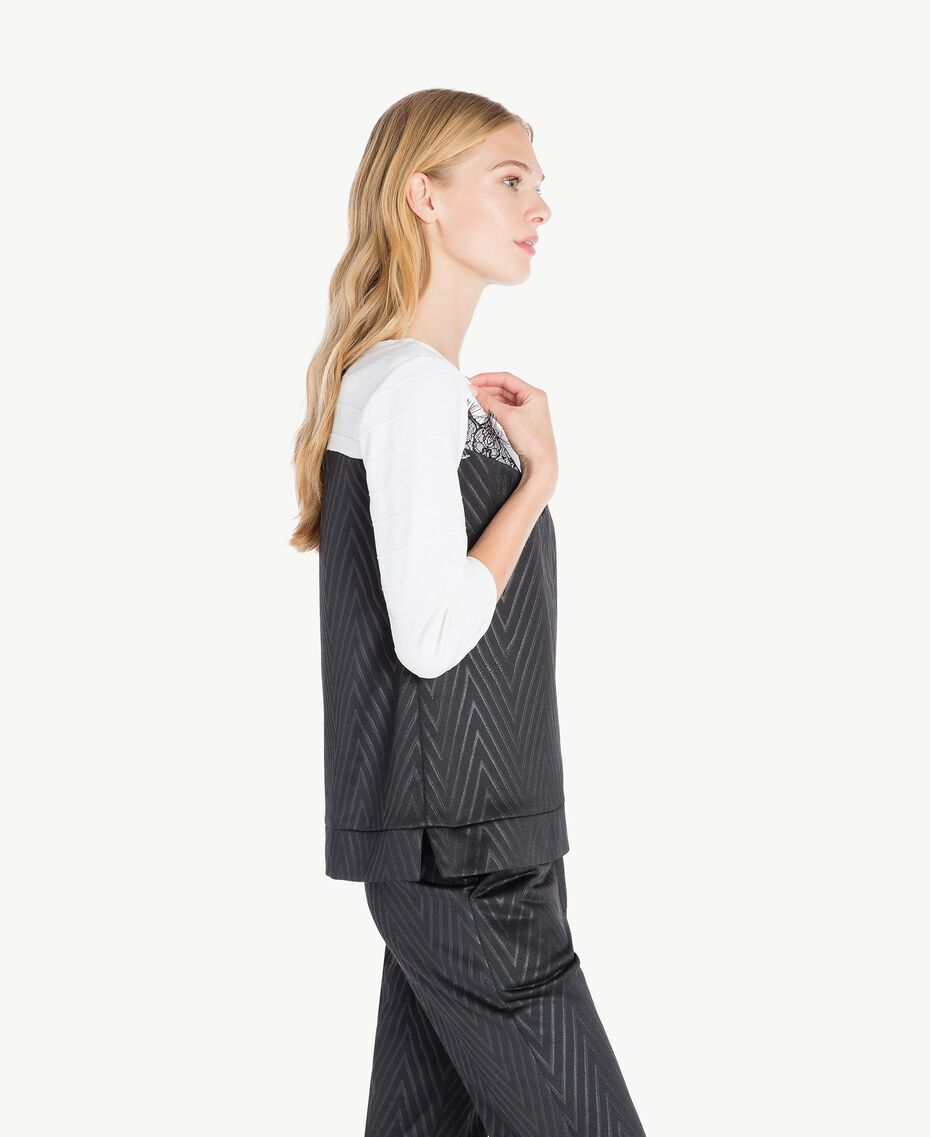 Laminated print sweatshirt Black / Ivory IA7SDD-03