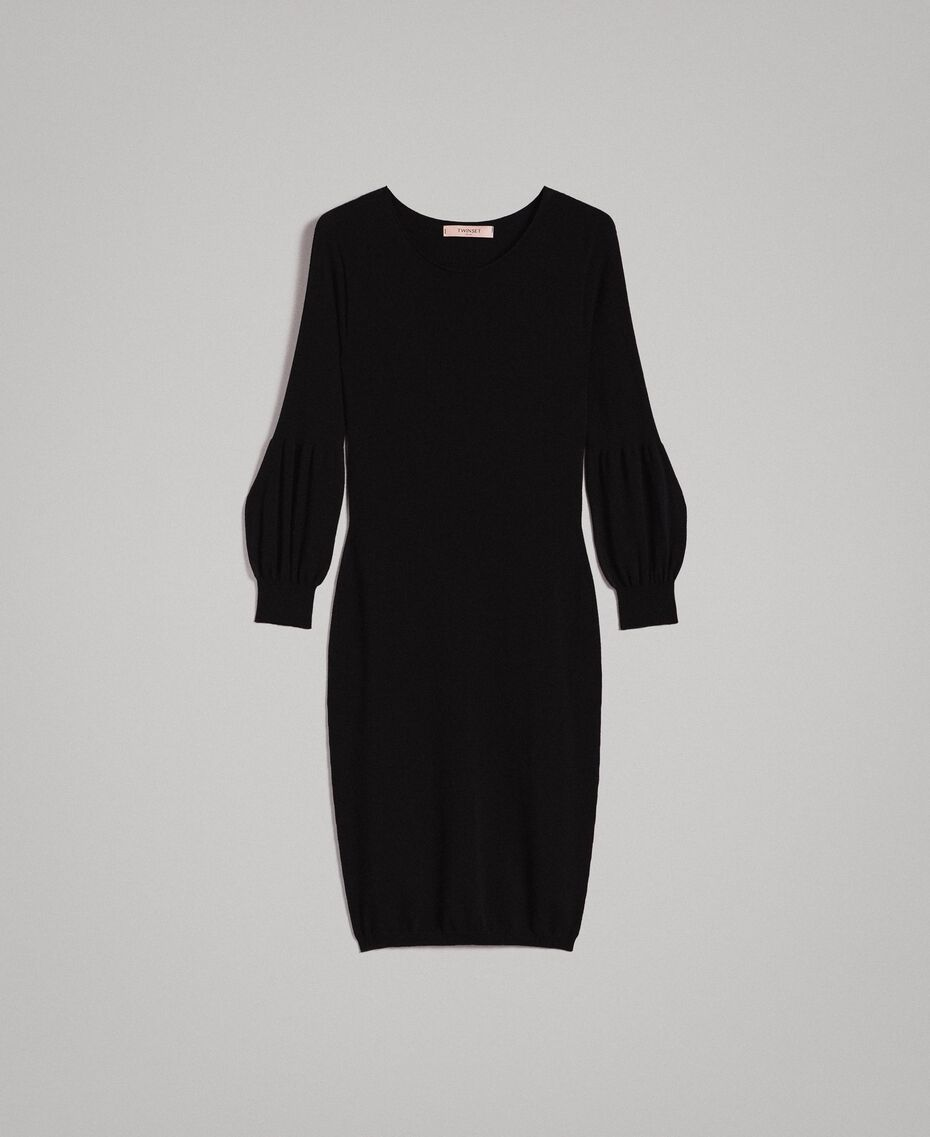 Sheath dress with slits Black Woman 191TP3291-0S