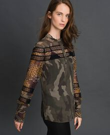 Chemise imprimée camouflage et floral Imprimé Patch Fleur Camouflage Femme 192TT2123-03