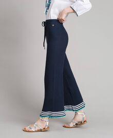 Pantalon palazzo en maille Multicolore Bleu Nuit / Blanc Cassé / Bleu Piscine Femme 191MT3081-04
