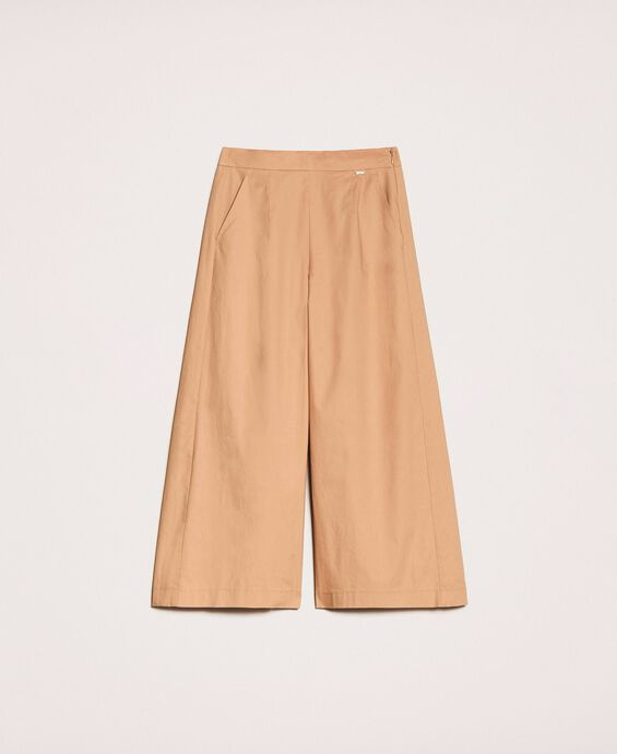 Poplin cropped trousers