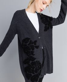 Maxi cardigan with floral inlay Bicolour Anthracite Grey Black Flower Woman TA8391-05