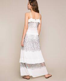 Jupe longue plissée avec dentelle bicolore Blanc Neige Femme 201TT2144-03