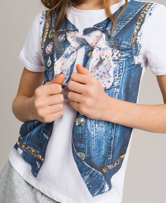Cotton T-shirt with print and studs White Child 191GJ2381-04
