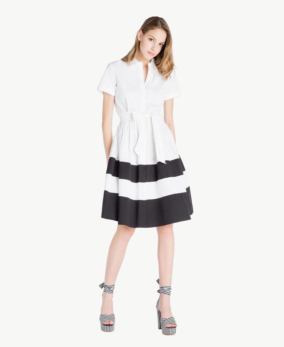 Robe chemisier popeline Blanc Optique / Noir Femme YS82FC-01