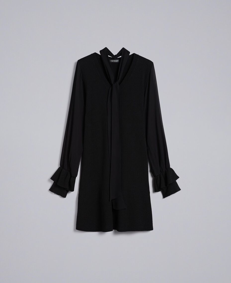 Knitted dress with georgette sleeves Black Woman TA8331-0S