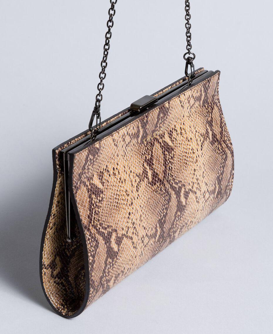 Animal print leather clutch bag Camel Snake Print Woman AA8PMA-02