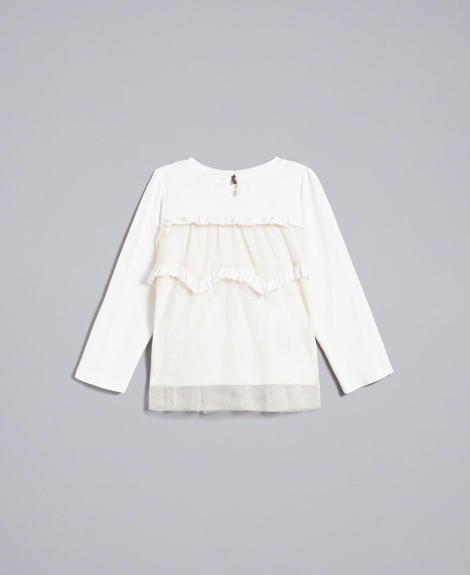 Jersey and tulle blouse Bicolour White / Gold Lurex Child FA82L1-0S
