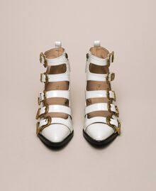 "Leather Texas boots with crocodile print ""Snow"" White Crocodile Print Woman 201TCP05A-05"
