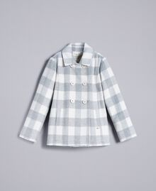 "Short check coat ""Grey Check"" / White Jacquard Child GA82CN-01"