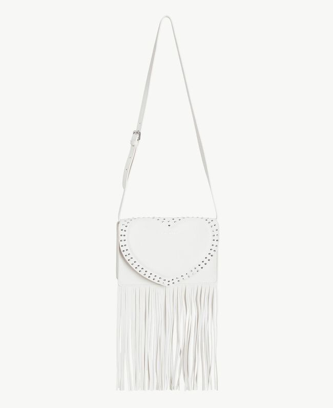 TWINSET Fringed shoulder bag Light Ivory Woman AS8PCA-01