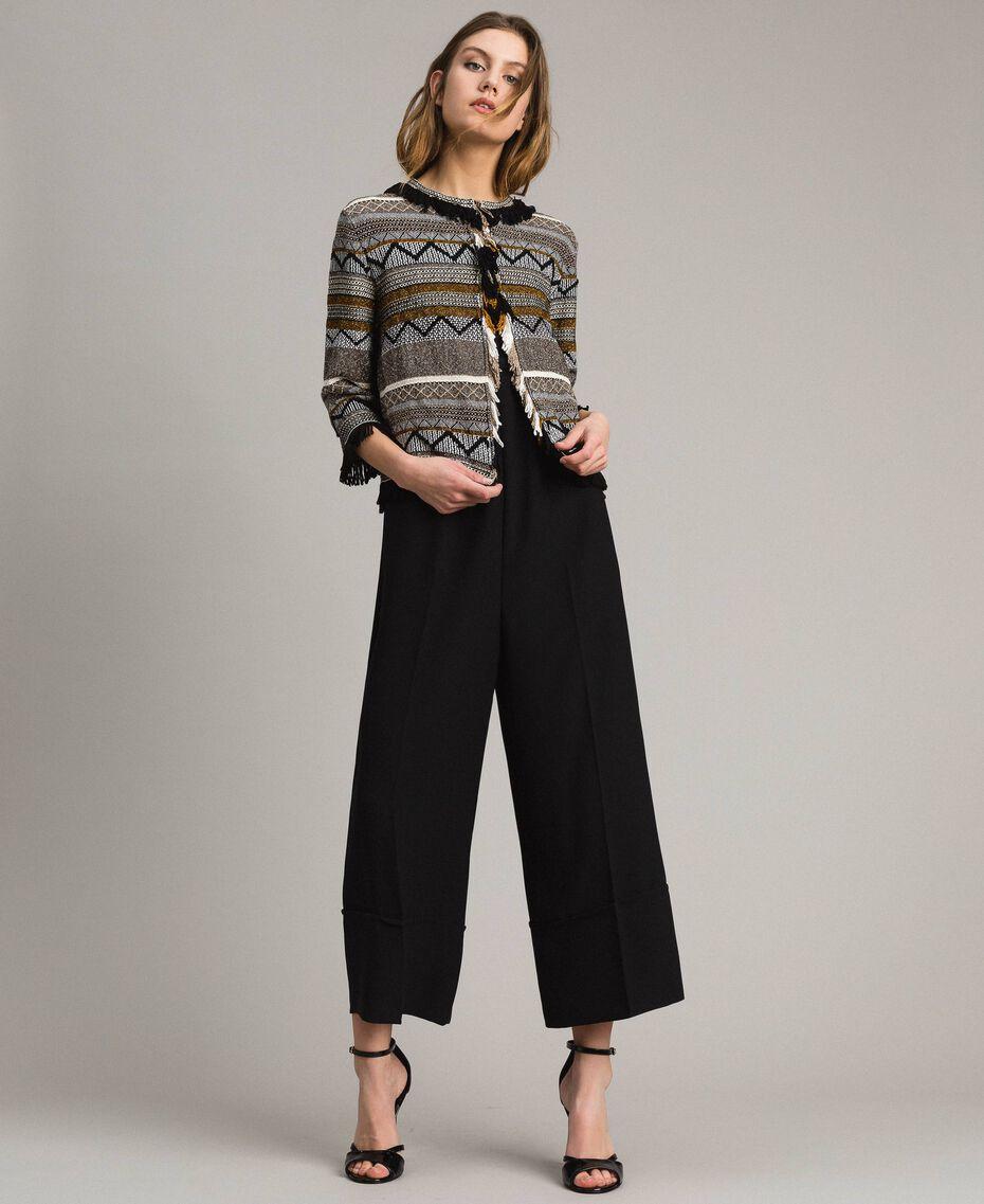 Rundhals-Jacke mit Inlay-Details und Fransen Streifen Multicolour Neutral Grau Frau 191TT3161-0T