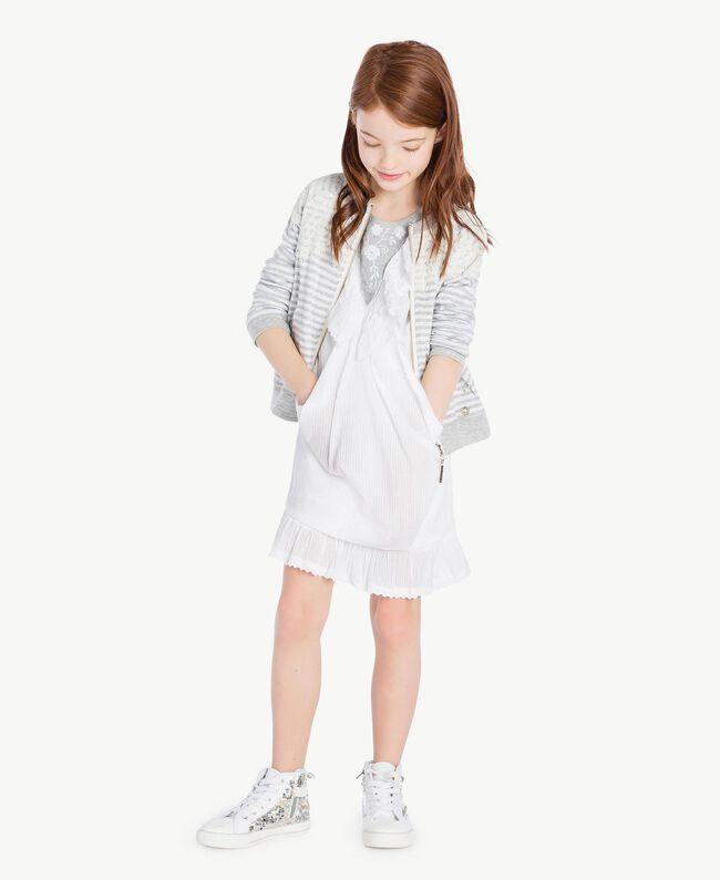 "Embroidered dress ""Papyrus"" White Jacquard Stripes / Light Melange Grey Child GS82LA-06"