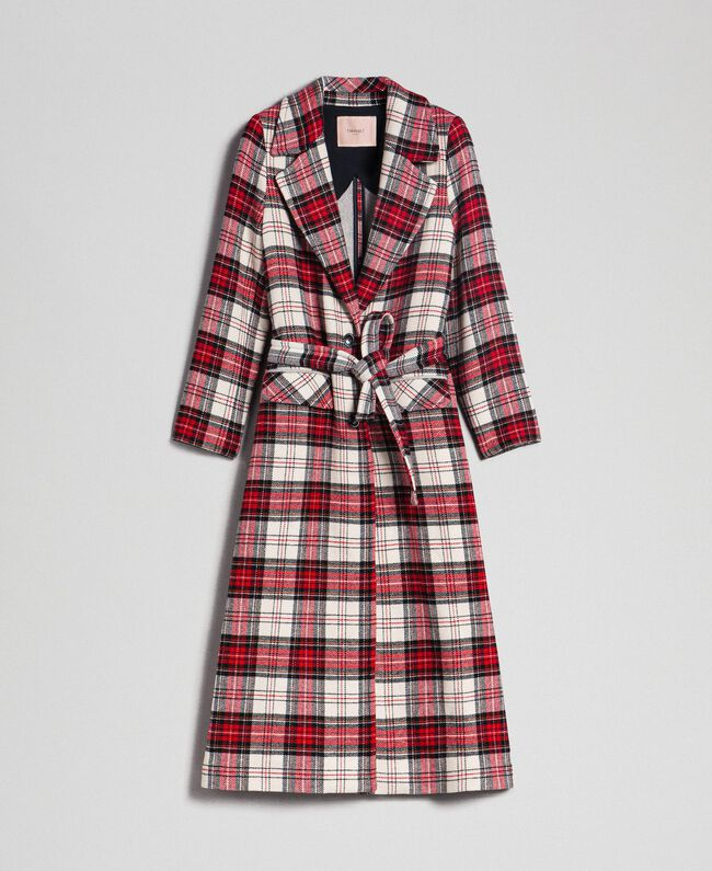 Manteau long en laine à carreaux Jacquard Grand Tartan Femme 192TP2611-0S