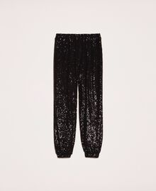 Sequinned joggers Black Woman 201LB21GG-0S