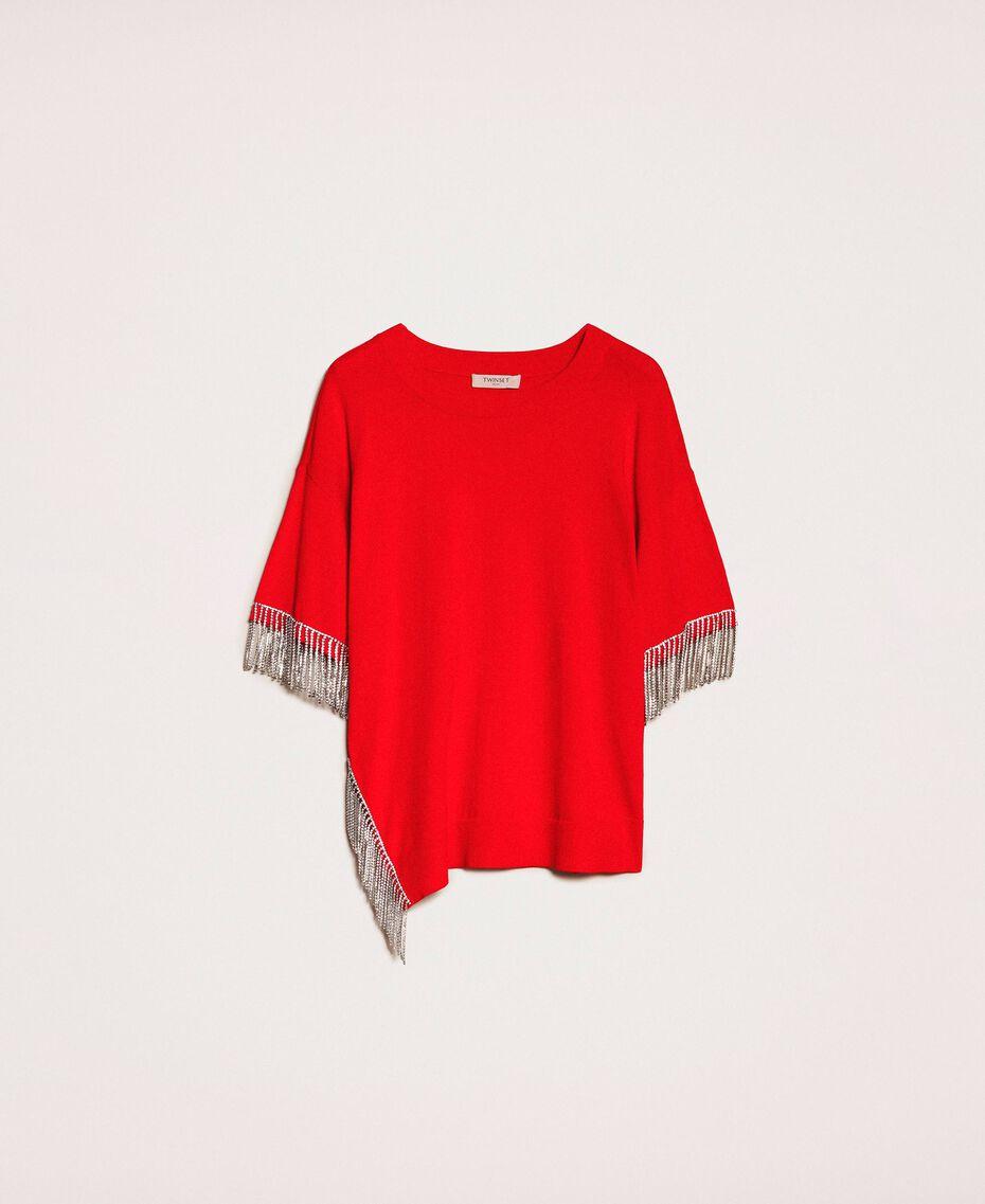 """Maxy maglia con frange di strass Rosso """"Lava"""" Donna 201TP3082-0S"""