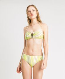 "Striped bandeau bikini top with rhinestones ""Bronze"" Brown / ""Lemon Juice"" Yellow Multicolour Striping Woman 191LBMA11-02"