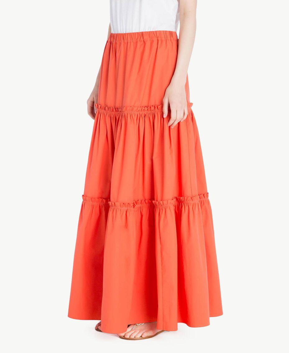 Long poplin skirt Orange Woman TS821V-02