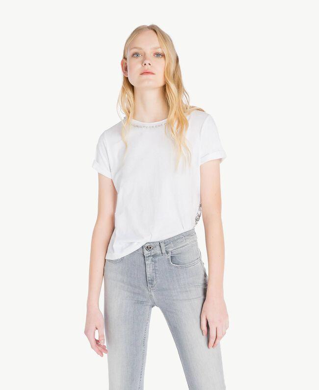 T-Shirt mit Perlen Weiß Frau JS82RL-01