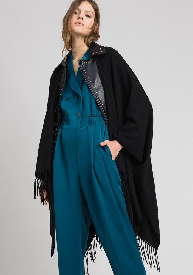 Fringed cape with double garment effect