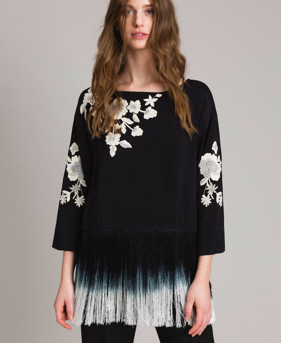 Floral embroidery and fringe blouse Black Woman 191TT2130-01