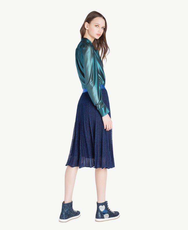TWINSET Sneaker mit Glitter Dunkelblau Frau CS8PM7-06