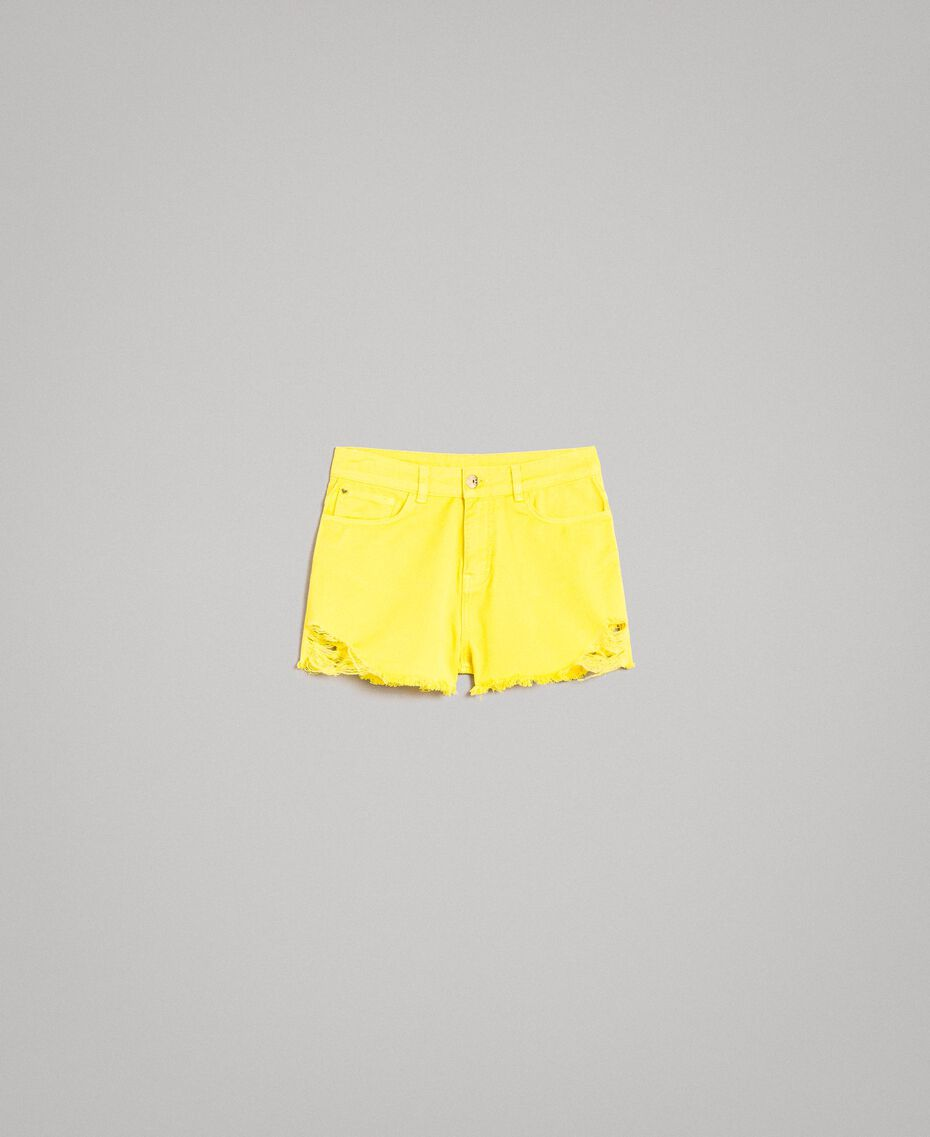 Short en coton aux détails déchirés Jaune Fluo Femme 191MT2191-0S