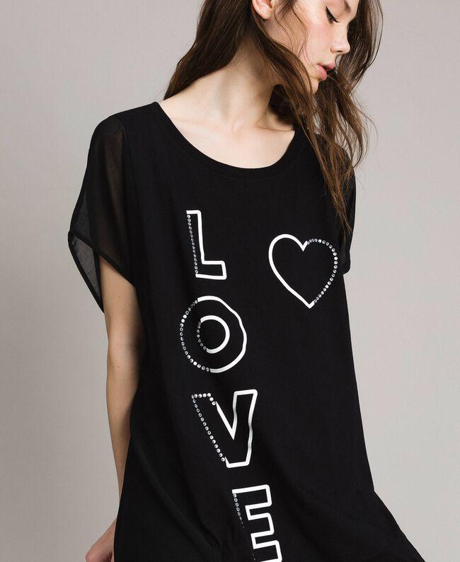 Maxi T-Shirt mit Print und Strass Schwarz Frau 191LB23KK-01