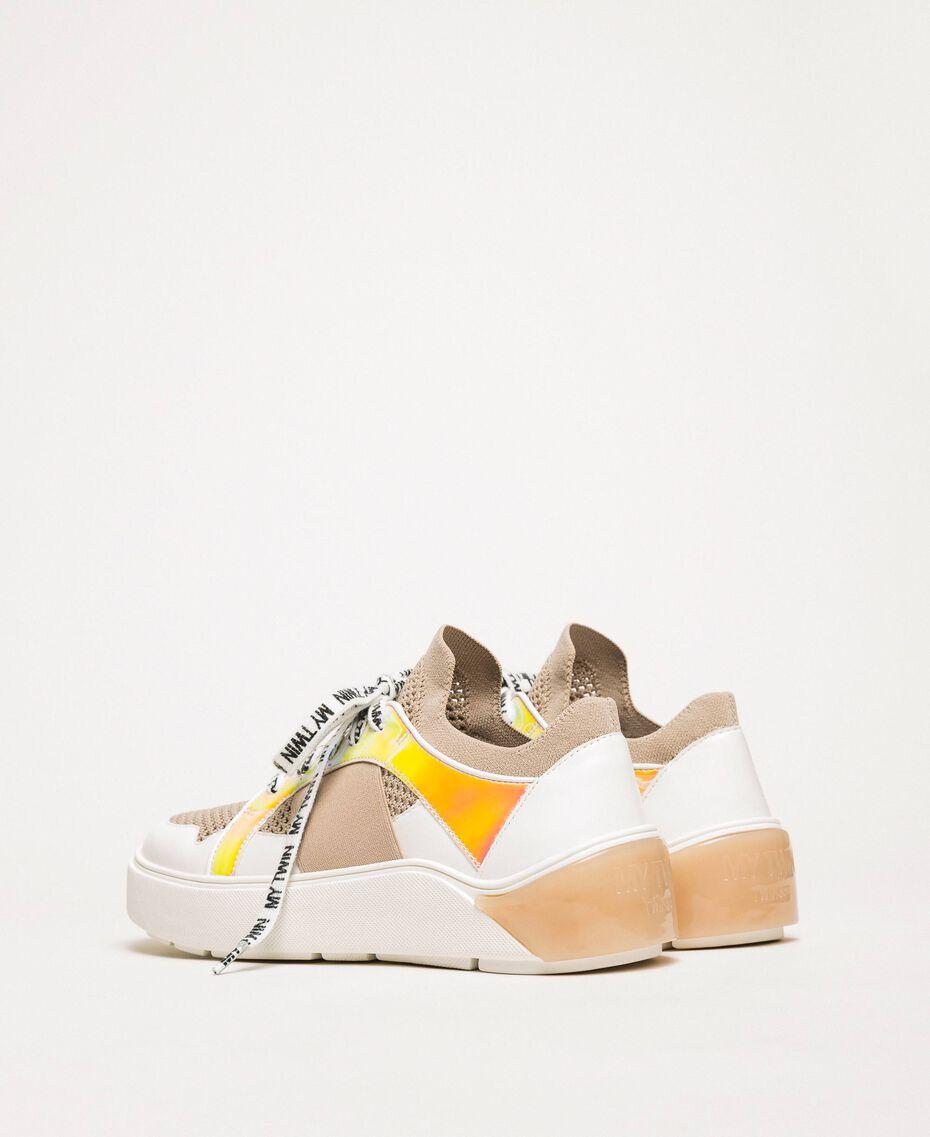"Mesh trainers with faux leather detail Multicolour ""Quartz"" Pink / Vanilla / ""Iris"" Green Woman 201MCP130-02"