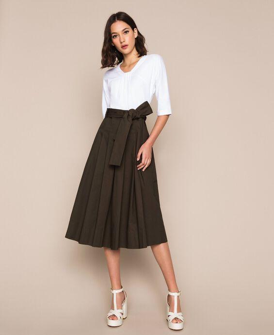 Robe mi-longue avec jupe en popeline