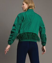 Technical fabric bomber jacket with feathers Evergreen Green Woman 191TP2011-03