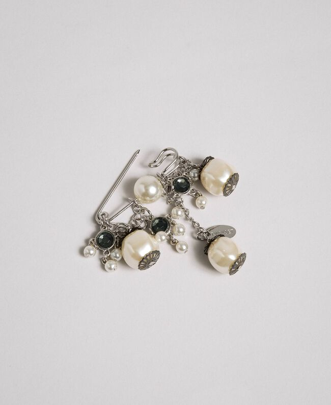 Brooch with pendant pearls and bezels Nickel Free Silver Woman 192TA437D-01