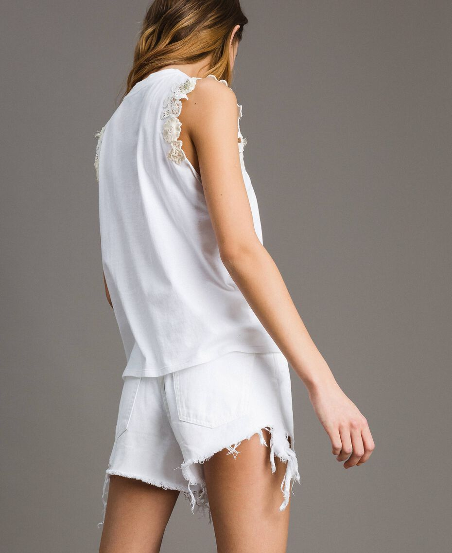 Trägerhemd mit Blumenapplikation Weiß Frau 191TT2201-03