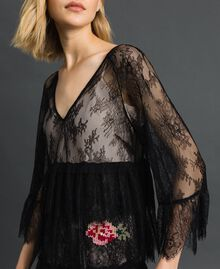 Valenciennes lace dress with floral embroidery Black Woman 192TP2586-04
