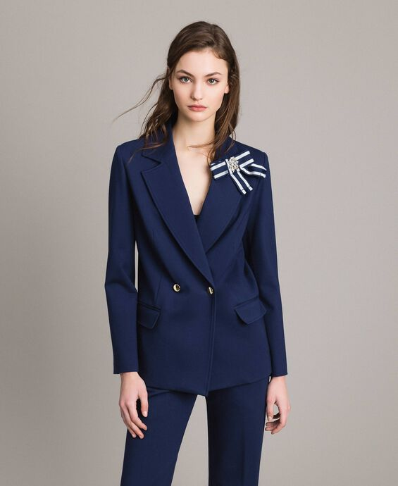 Double-breasted blazer jacket with cockade