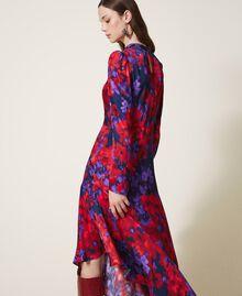"Floral print satin dress ""Vibrant"" Purple / Venetian Red Floral Print Woman 202TT2350-03"