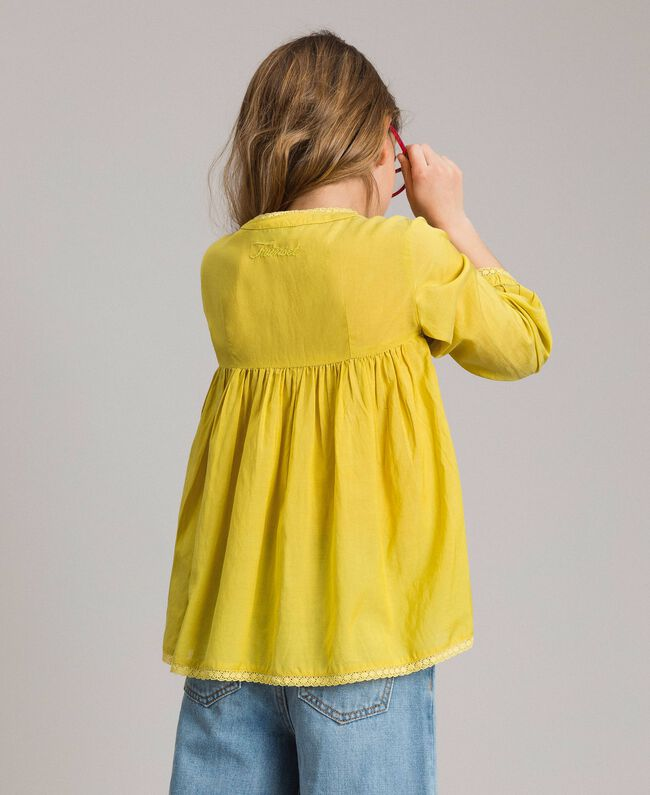"""Cotton voile blouse with embroidery """"Bamboo"""" Yellow Child 191GJ2350-03"""