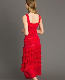 """Robe longue en crêpe georgette volanté Rouge """"Rouge à Lèvres"""" Femme 191TT3022-03"""